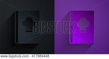 Paper Cut Cookbook Icon Isolated On Black On Purple Background. Cooking Book Icon. Recipe Book. Fork
