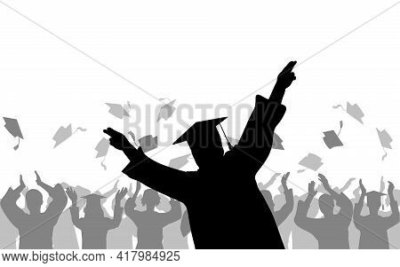 Cheerful Boy Graduates On Background Of Joyful Crowd Of Students People Throwing Mortarboards Or Aca