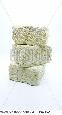 Indonesian Fermented Soybean Cake (tempe) On White Background