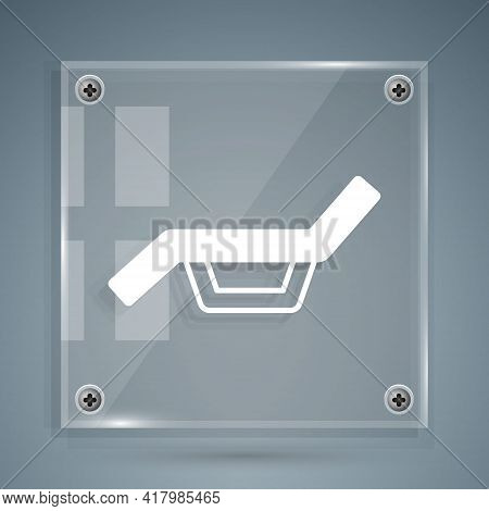 White Sunbed Icon Isolated On Grey Background. Sun Lounger. Square Glass Panels. Vector