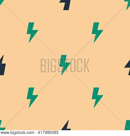Green And Black Lightning Bolt Icon Isolated Seamless Pattern On Beige Background. Flash Sign. Charg