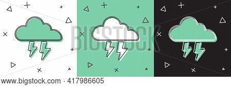 Set Storm Icon Isolated On White And Green, Black Background. Cloud And Lightning Sign. Weather Icon