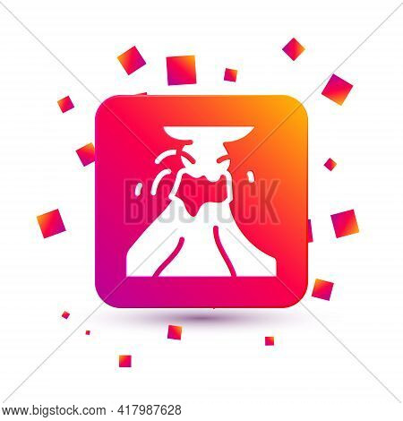 White Volcano Eruption With Lava Icon Isolated On White Background. Square Color Button. Vector