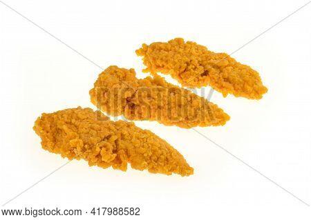 Breaded Chicken Spicy Sirloin On A White Background - Packshot