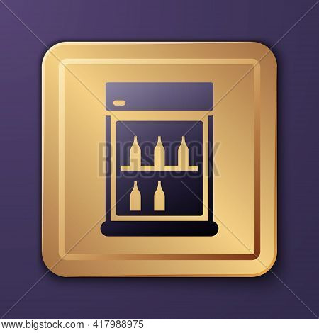 Purple Commercial Refrigerator To Store Drinks Icon Isolated On Purple Background. Perishables For S