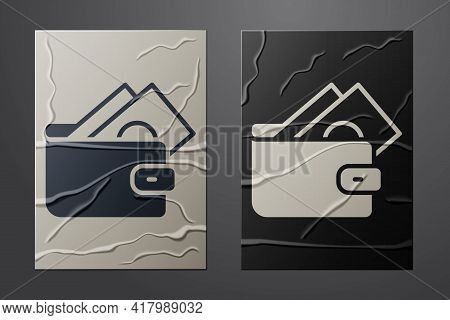 White Wallet With Stacks Paper Money Cash Icon Isolated On Crumpled Paper Background. Purse Icon. Ca