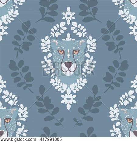 Vector Abstract Symmetrical Cheetah With Leaves In Blue Seamless Pattern Background. Perfect For Fab