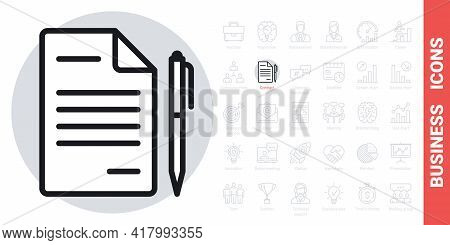 Contract, Agreement Or Business Papers Icon. Simple Black And White Version From A Series Of Busines