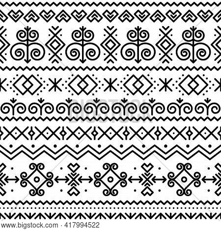 Slovak Folk Art Vector Seamless Black Pattern With Abstract Geometric Shapes Inspired By Traditional