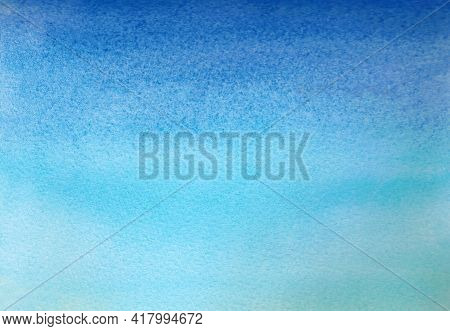 Blue Watercolor Texture. Watercolor Background Horizontal. Drawn By Hand. For Banners, Posters And O