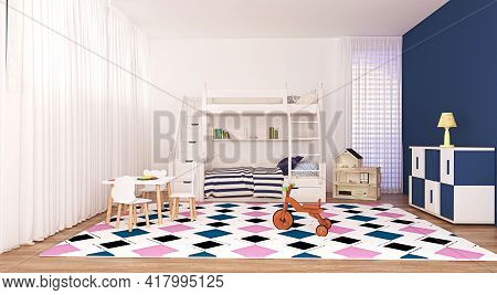 Modern Kids Bedroom Interior Design With Wooden Two Tier Bed And Commode, White, Pink Blue, Table Wi
