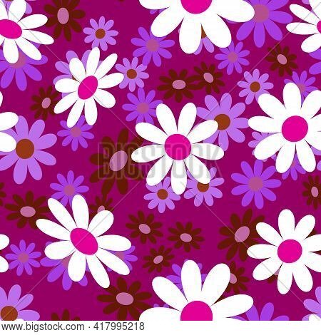 Cute Abstract Seamless Pattern With Small Colorful Chamomile Flowers On The Lilac Background. Summer