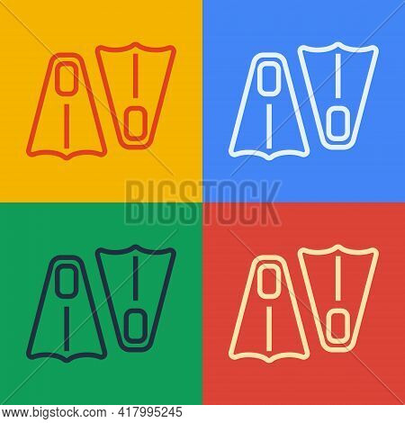 Pop Art Line Rubber Flippers For Swimming Icon Isolated On Color Background. Diving Equipment. Extre