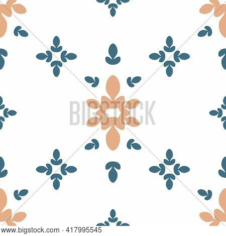 Vector Abstract Symmetrical Floral Details Design With Blue And Orange Seamless Pattern Background.