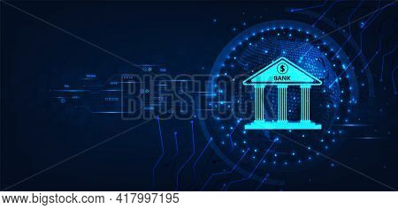 Internet Banking Technology Concept.isometric Illustration Of Bank On Dark Blue Technology Backgroun