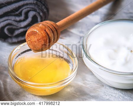 Ingredients For Homemade Face Mask Honey And Yogurt.