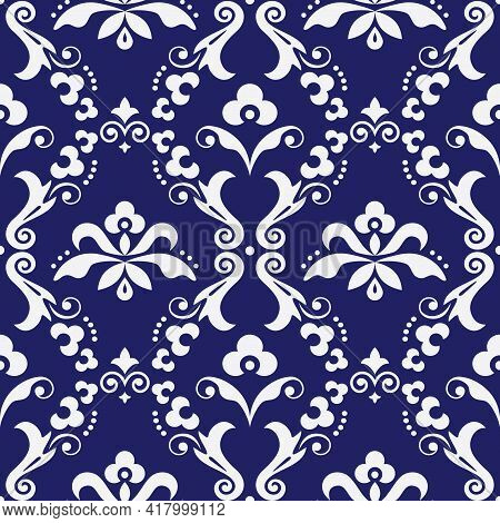 Damask  Vector Seamless Textile Or Farbic Print Pattern, Old Victorian Repetitive Design With Flower