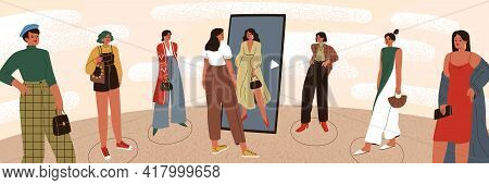 Woman Choosing Her Own Personal Authentic Style Identity. Choice Of Individual Image. Female Charact