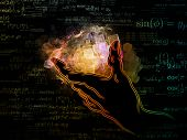 Hand of Science series. Background design of human hand and science related design elements on the subject of technology scientific knowledge and education poster