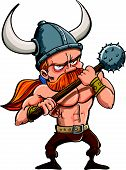 Cartoon illustration of a fierce redhead viking warrior in a horned helmet carrying a spiked mace isolated on white poster