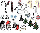 A collection of hand drawn christmas graphics. poster