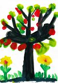 tree with apples, watercolor paint poster