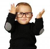 Happy Baby Boy Wearing Eye Glasses Isolated On White Background poster