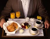 Hotel Room Service Delivery of Continential Breakfast from scanned 4x5 film poster