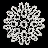 White handmade lace (round form) isolated on black. poster