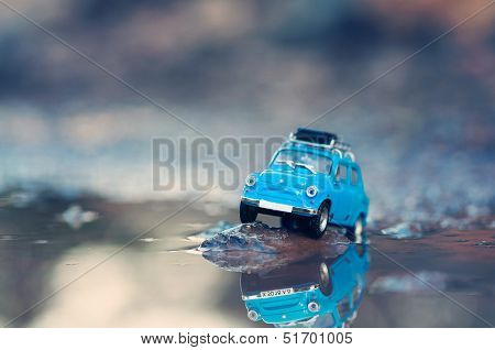 Miniature Travelling Car With Luggage On Top