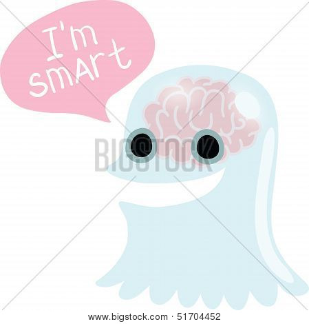 Halloween cute ghost character with bubble speech poster