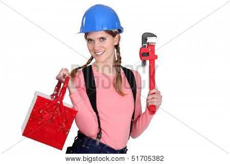 Female worker with a toolbox.