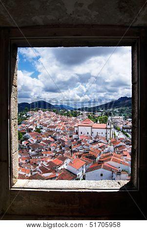 Window Framed Overview Of Castelo De Vide