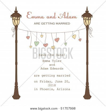 Invitation with lantern and hanging