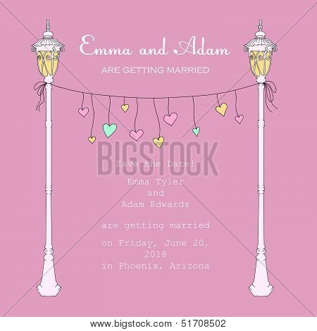 Invitation with lantern and hanging hearts