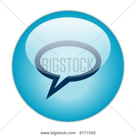 Glassy Blue Elliptical Chat Icon