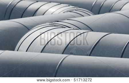 detailed view of new metallic pipeline tubes poster