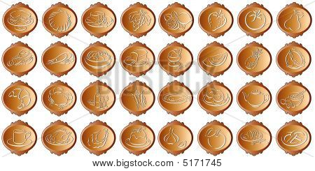 Bronce Colored Buttons With Food Symbols