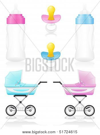 Set Icons Perambulator Bottle Pacifier Pink And Blue Vector Illustration