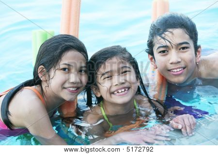Children Having Fun In Swimming Pool