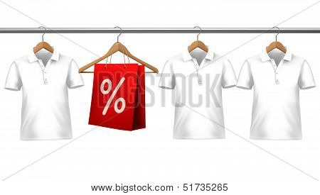 Shirts With Price Tags Hanging On Hangers. Concept Of Discount Shopping. Vector Illustration.