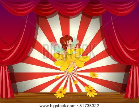 Illustration of a flower pixie at the stage