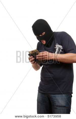 Robber counts money from stolen wallet. Isolated over white. poster