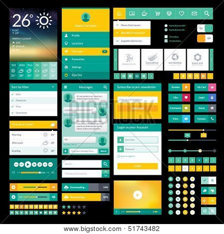 Set of flat icons and elements for mobile app and web design poster