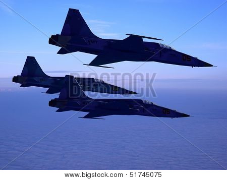 The  group of military aircraft in the sky. poster