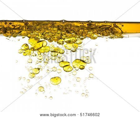oil splash in water isolated on white background