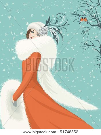 Portrait of elegant woman in a red coat with long fur collar on snowy background