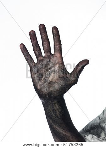 Dirty palm of the hand
