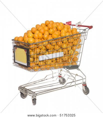 Shopping cart with several oranges