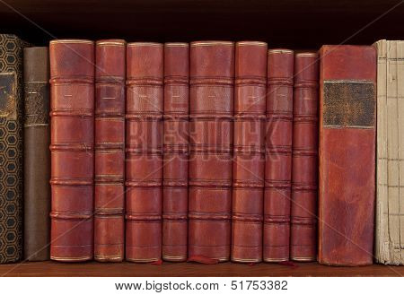 Antique books in a row